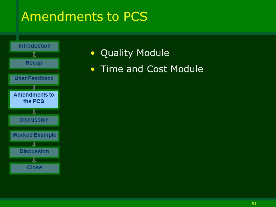 51 Amendments to PCS Quality Module Time and Cost Module Introduction Discussion Worked Example Close User Feedback Amendments to the PCS Discussion Recap
