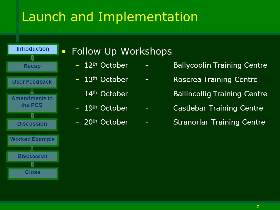 7 Launch and Implementation Follow Up Workshops –12 th October -Ballycoolin Training Centre –13 th October-Roscrea Training Centre –14 th October -Ballincollig Training Centre –19 th October-Castlebar Training Centre –20 th October-Stranorlar Training Centre Introduction Discussion Worked Example Close User Feedback Amendments to the PCS Discussion Recap