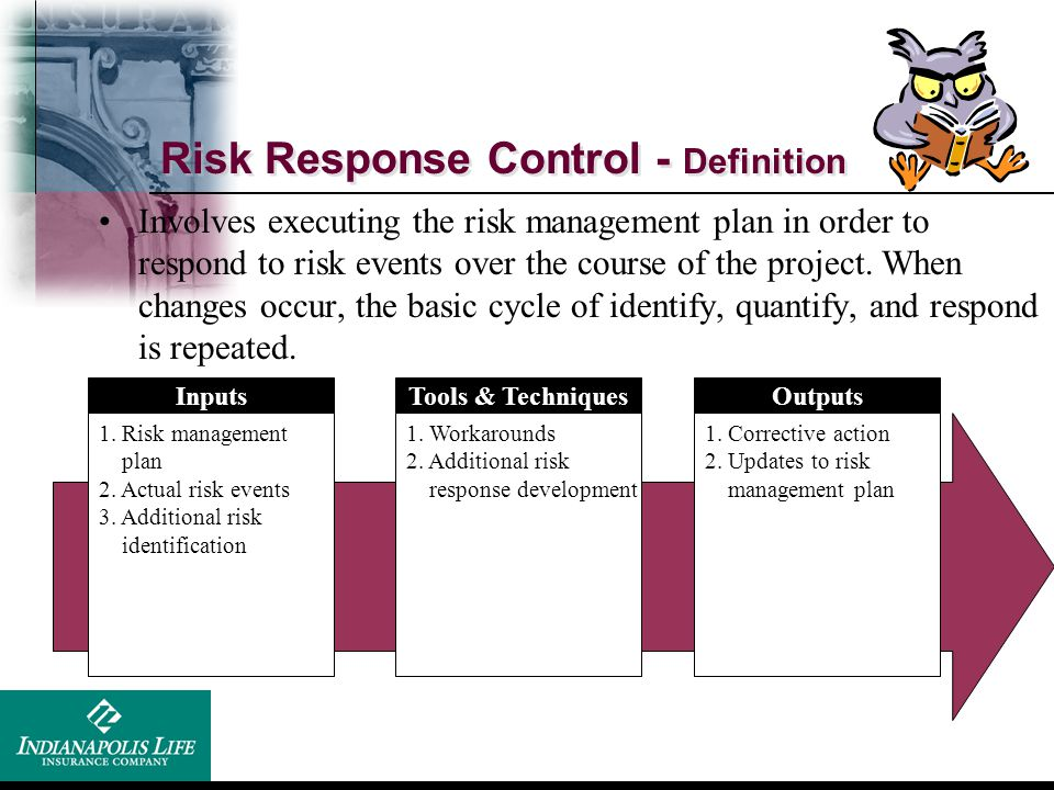 Risk Response Control - Definition Inputs 1. Risk management plan 2. Actual risk events 3. Additional risk identification Tools & Techniques 1. Workar
