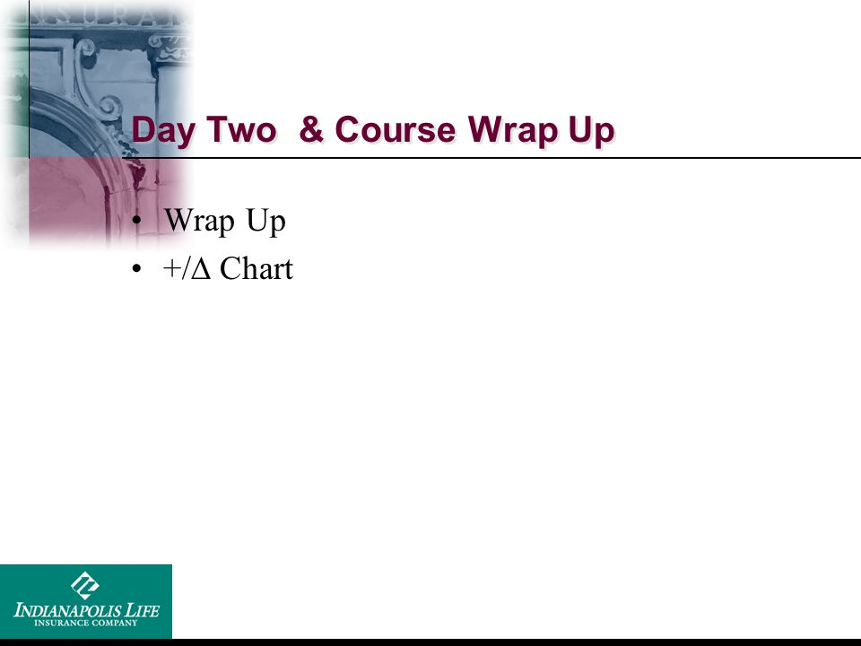 Day Two & Course Wrap Up Wrap Up +/  Chart