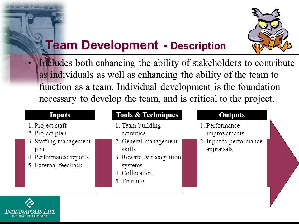 Team Development - Description Inputs 1. Project staff 2. Project plan 3. Staffing management plan 4. Performance reports 5. External feedback Tools &