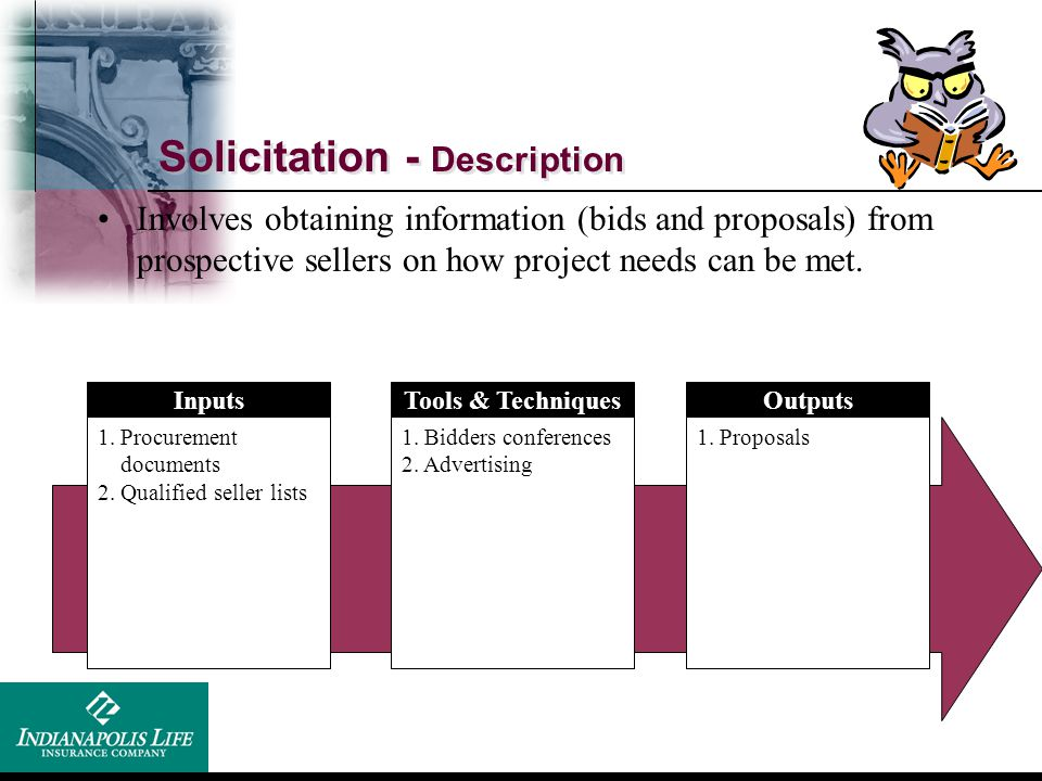 Solicitation - Description Inputs 1. Procurement documents 2. Qualified seller lists Tools & Techniques 1. Bidders conferences 2. Advertising Outputs