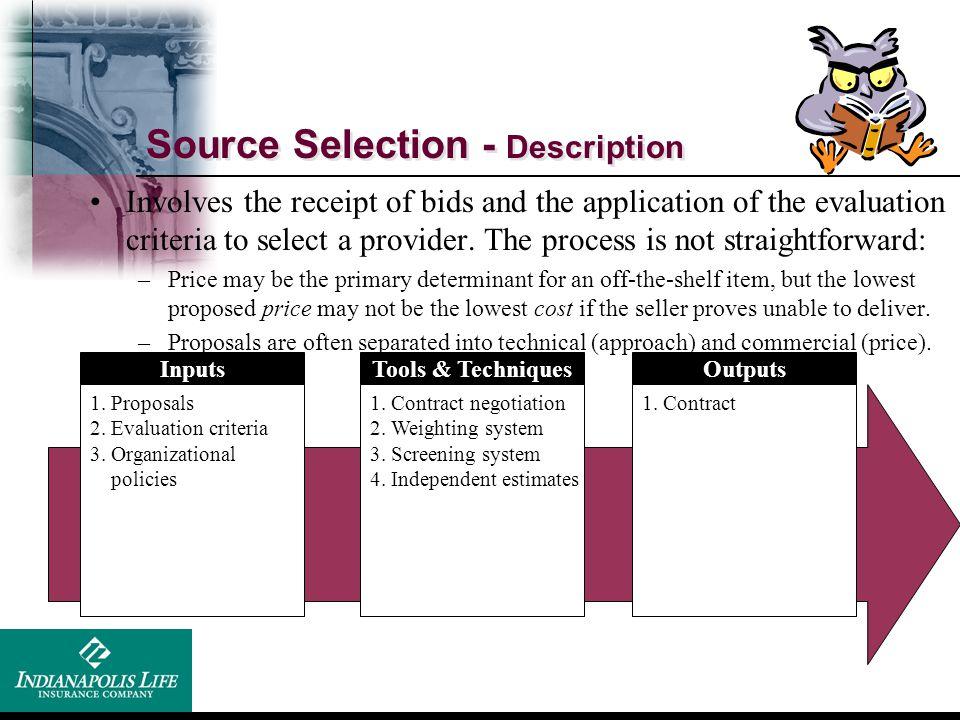 Source Selection - Description Inputs 1. Proposals 2. Evaluation criteria 3. Organizational policies Tools & Techniques 1. Contract negotiation 2. Wei