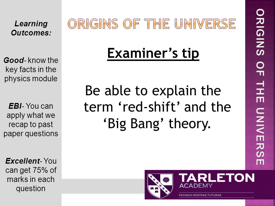 Examiner's tip Be able to explain the term 'red-shift' and the 'Big Bang' theory.