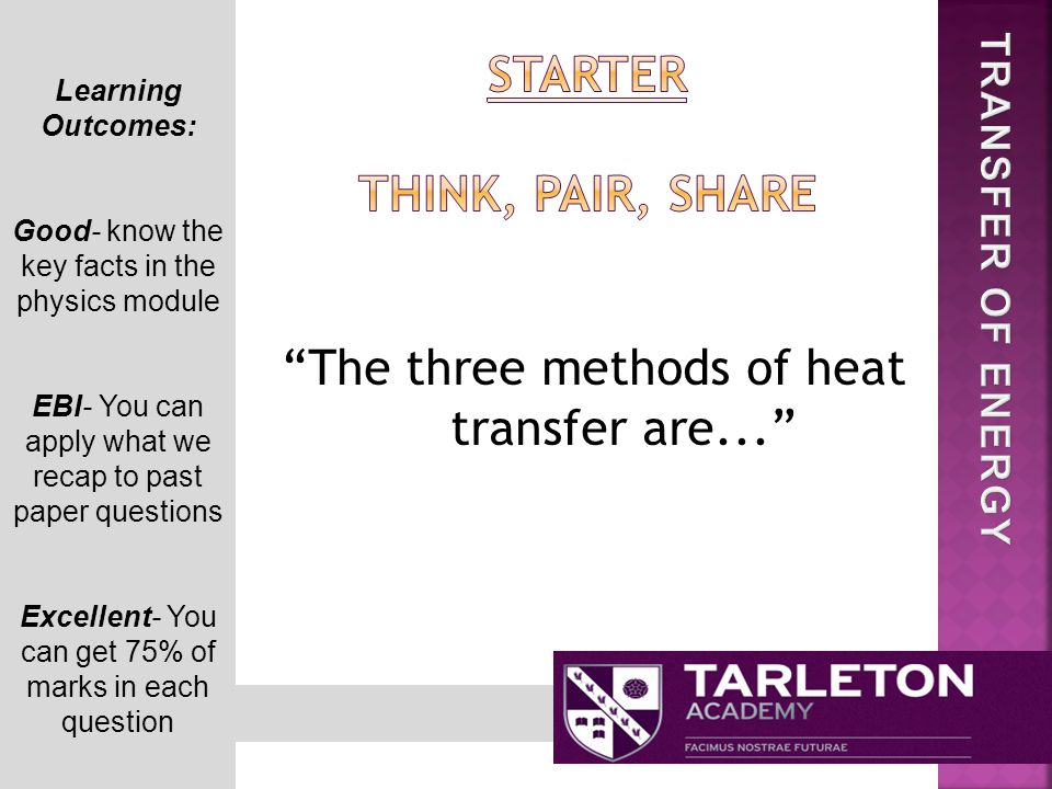The three methods of heat transfer are... Learning Outcomes: Good- know the key facts in the physics module EBI- You can apply what we recap to past paper questions Excellent- You can get 75% of marks in each question