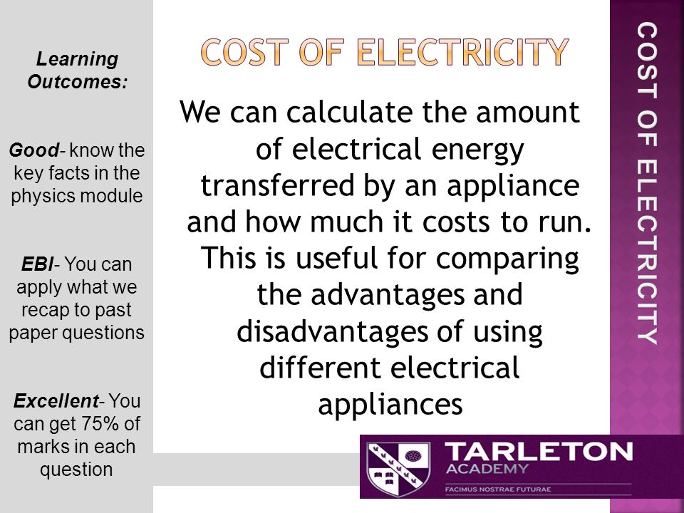 Learning Outcomes: Good- know the key facts in the physics module EBI- You can apply what we recap to past paper questions Excellent- You can get 75% of marks in each question We can calculate the amount of electrical energy transferred by an appliance and how much it costs to run.