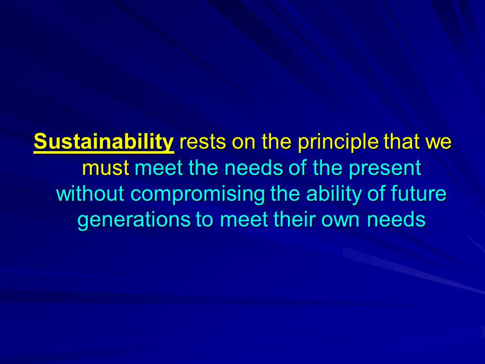 Sustainability rests on the principle that we must meet the needs of the present without compromising the ability of future generations to meet their