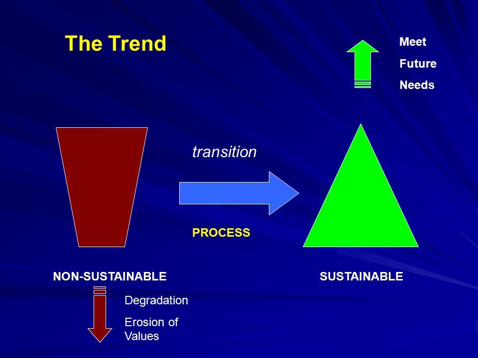 NON-SUSTAINABLESUSTAINABLE transition PROCESS Meet Future Needs Degradation Erosion of Values The Trend