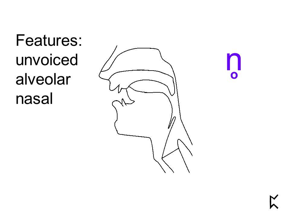 Features: unvoiced alveolar nasal n o
