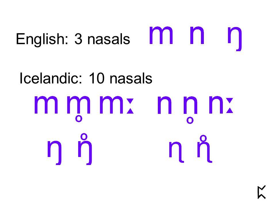 English: 3 nasals Icelandic: 10 nasals