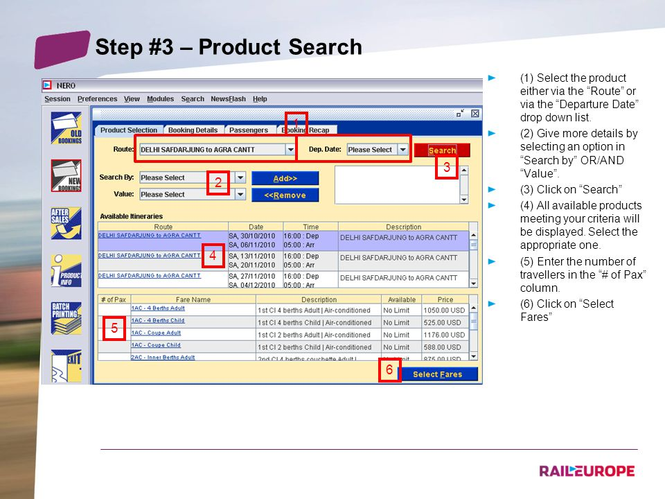 Step #3 – Product Search (1) Select the product either via the Route or via the Departure Date drop down list.
