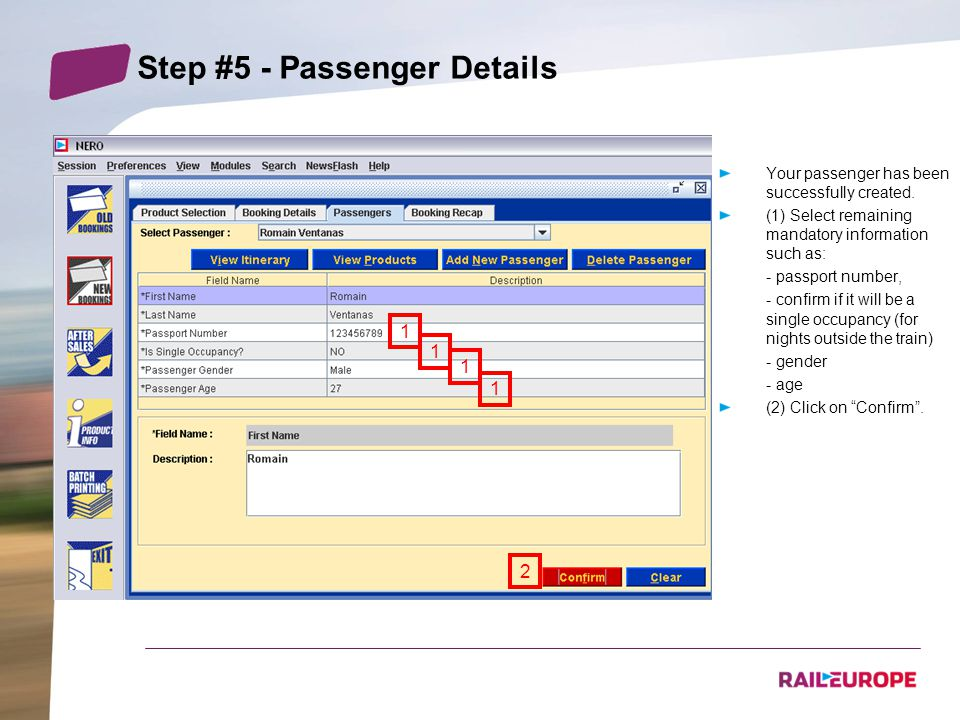 Step #5 - Passenger Details Your passenger has been successfully created.