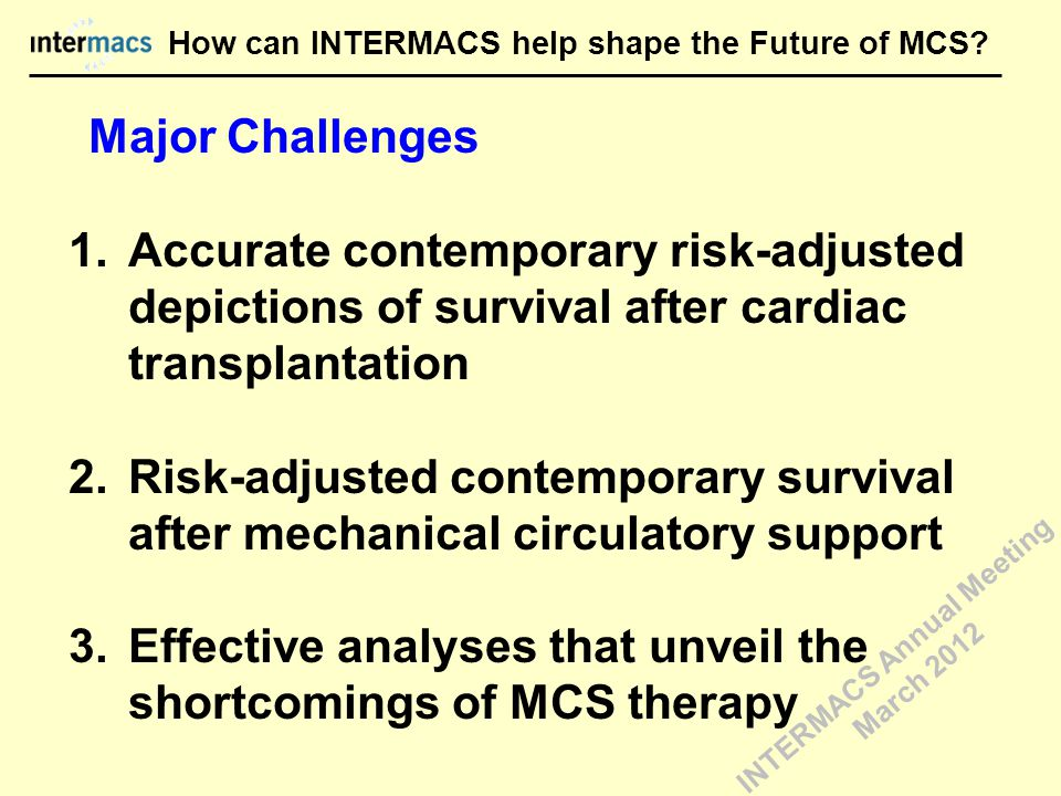 Major Challenges 1.Accurate contemporary risk-adjusted depictions of survival after cardiac transplantation 2.Risk-adjusted contemporary survival after mechanical circulatory support 3.Effective analyses that unveil the shortcomings of MCS therapy How can INTERMACS help shape the Future of MCS.