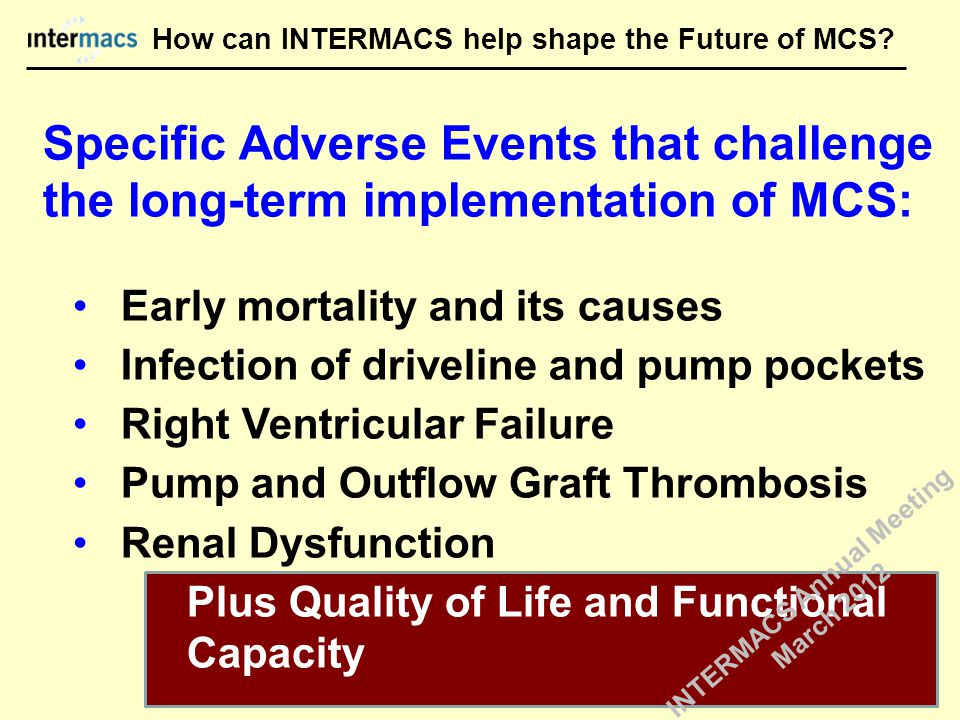Specific Adverse Events that challenge the long-term implementation of MCS: Early mortality and its causes Infection of driveline and pump pockets Right Ventricular Failure Pump and Outflow Graft Thrombosis Renal Dysfunction Plus Quality of Life and Functional Capacity How can INTERMACS help shape the Future of MCS.