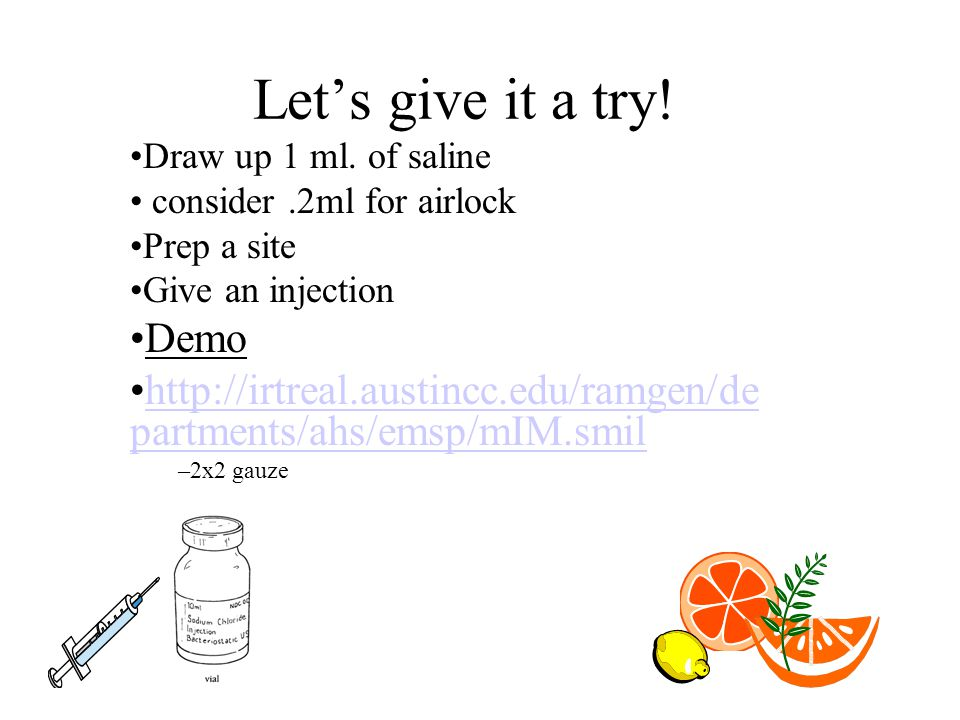 Let's give it a try. Draw up 1 ml.