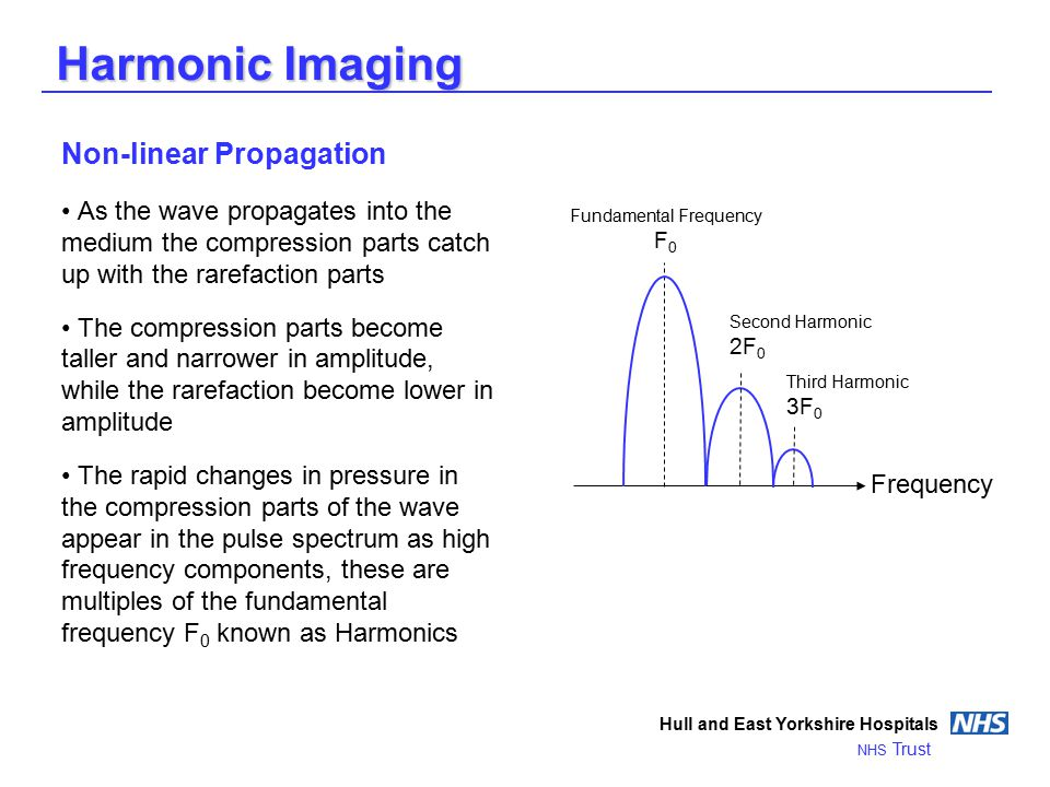 Harmonic Imaging Hull and East Yorkshire Hospitals NHS Trust Non-linear Propagation As the wave propagates into the medium the compression parts catch up with the rarefaction parts The compression parts become taller and narrower in amplitude, while the rarefaction become lower in amplitude The rapid changes in pressure in the compression parts of the wave appear in the pulse spectrum as high frequency components, these are multiples of the fundamental frequency F 0 known as Harmonics Frequency Fundamental Frequency F 0 Second Harmonic 2F 0 Third Harmonic 3F 0