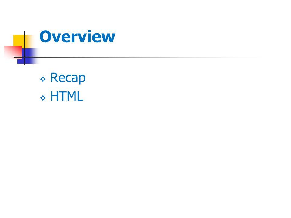 Overview  Recap  HTML