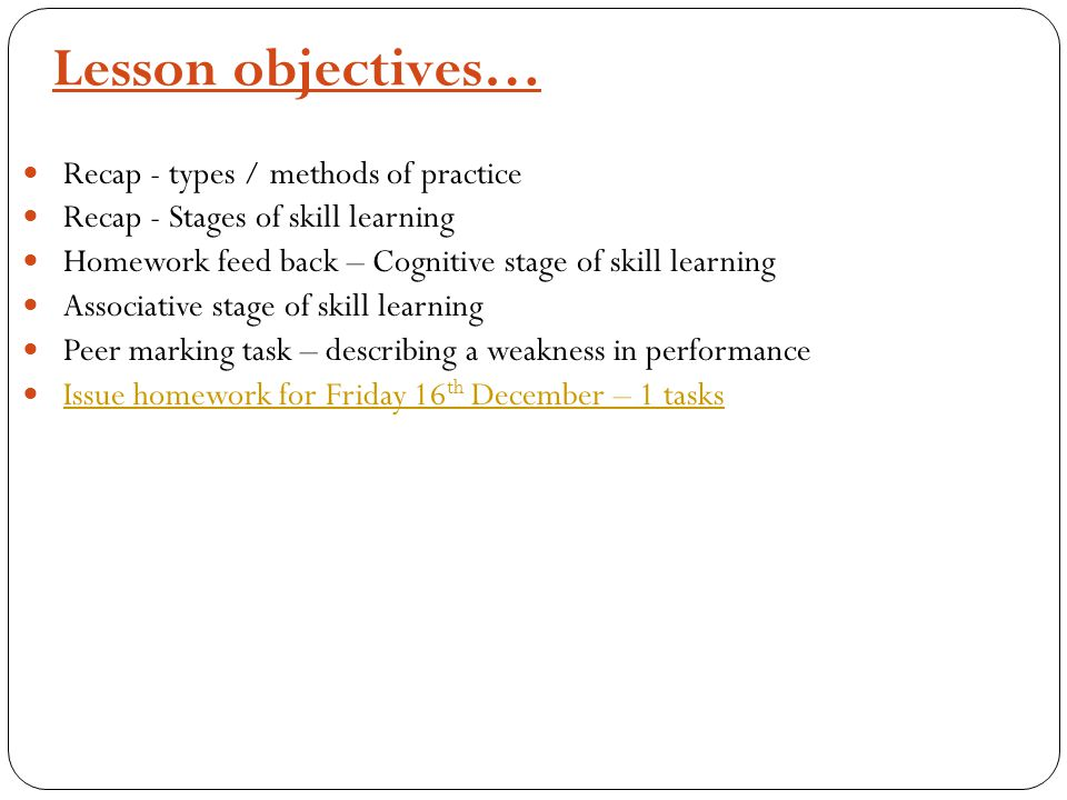 Recap- Types/methods of practice Click here for last Wednesdays lesson