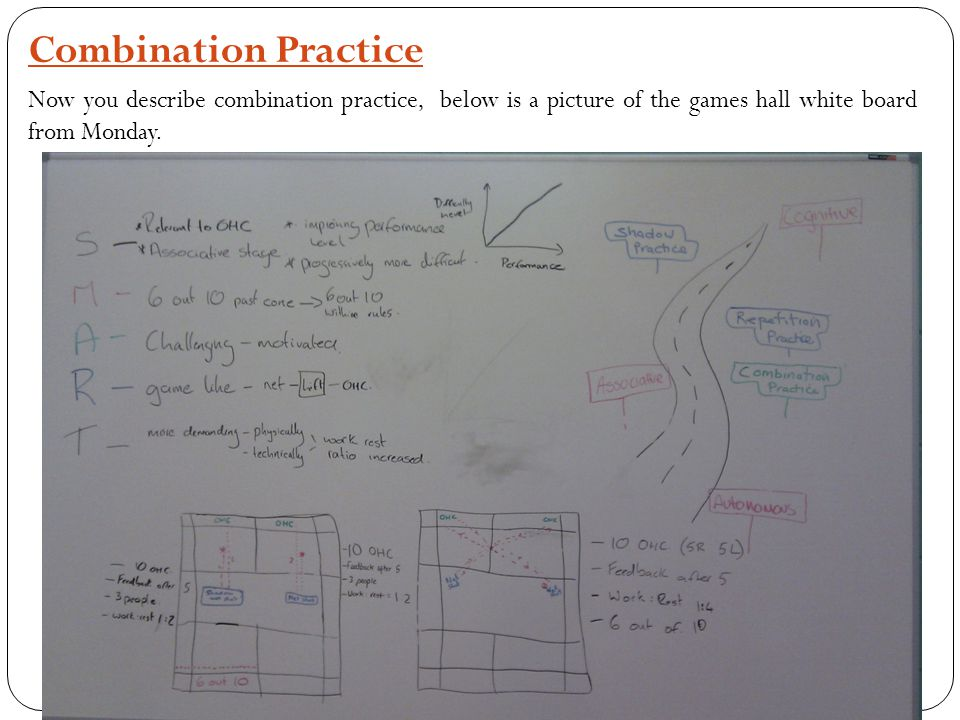 Combination Practice Now you describe combination practice, below is a picture of the games hall white board from Monday.