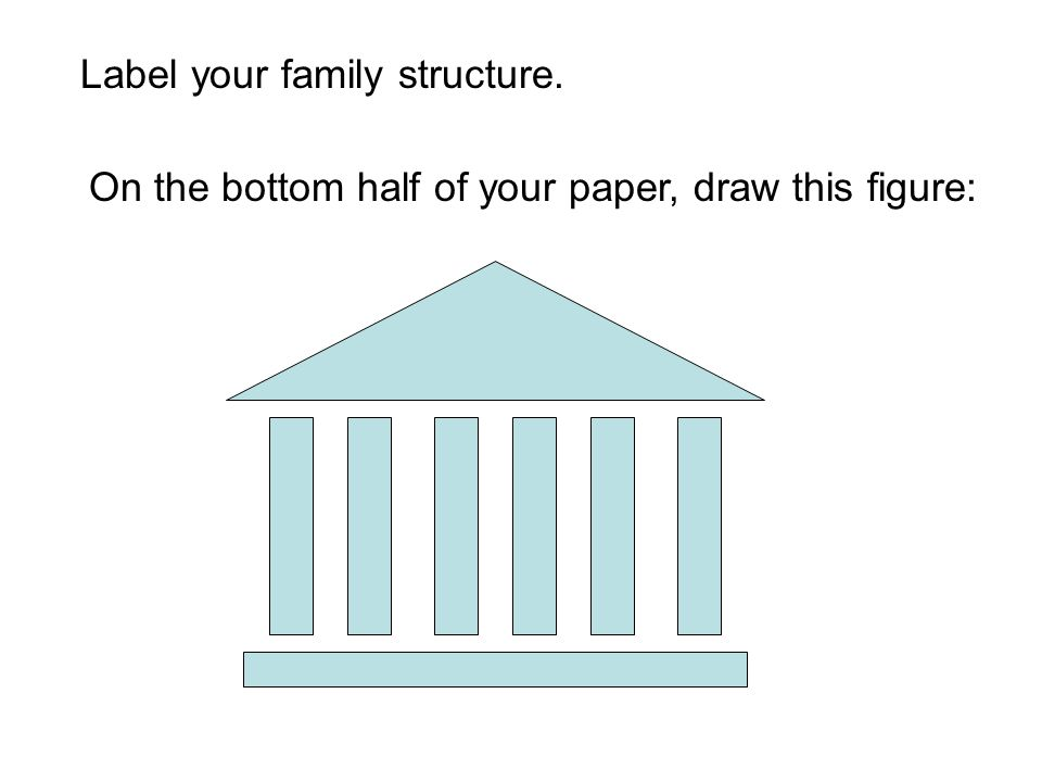 Label your family structure. On the bottom half of your paper, draw this figure: