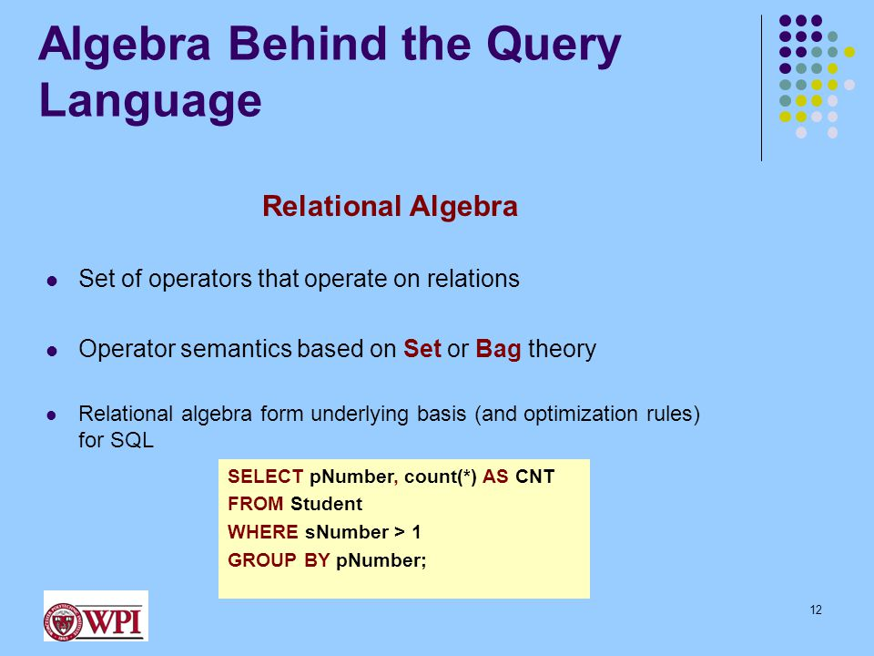 Algebra Behind the Query Language Relational Algebra Set of operators that operate on relations Operator semantics based on Set or Bag theory Relation