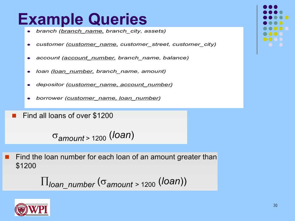 Example Queries 30