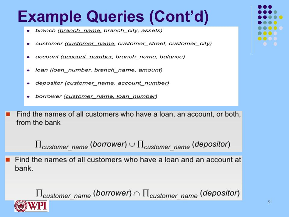 Example Queries (Cont'd) 31