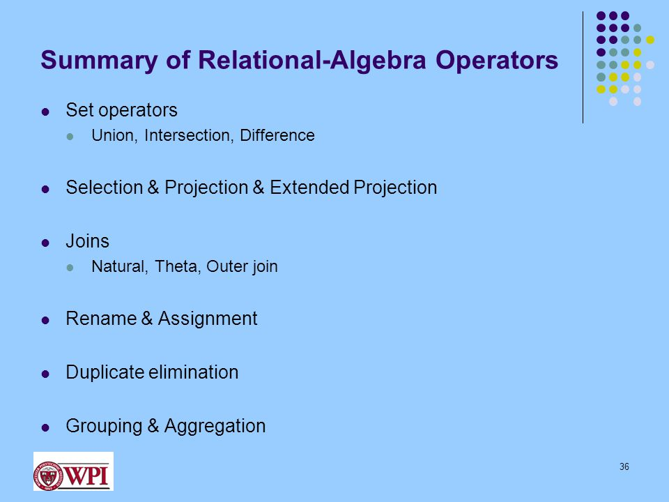 Summary of Relational-Algebra Operators Set operators Union, Intersection, Difference Selection & Projection & Extended Projection Joins Natural, Thet
