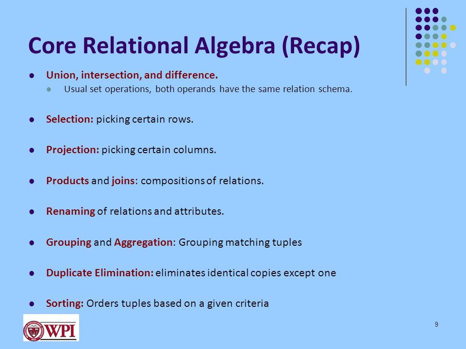 Relational Algebra Express Query Plans 10  B,D  R.A = c  S.E=2  R.C=S.C  X R S