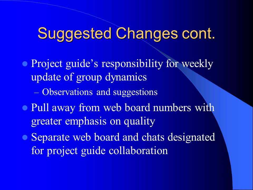 Suggested Changes cont. Project guide's responsibility for weekly update of group dynamics – Observations and suggestions Pull away from web board num