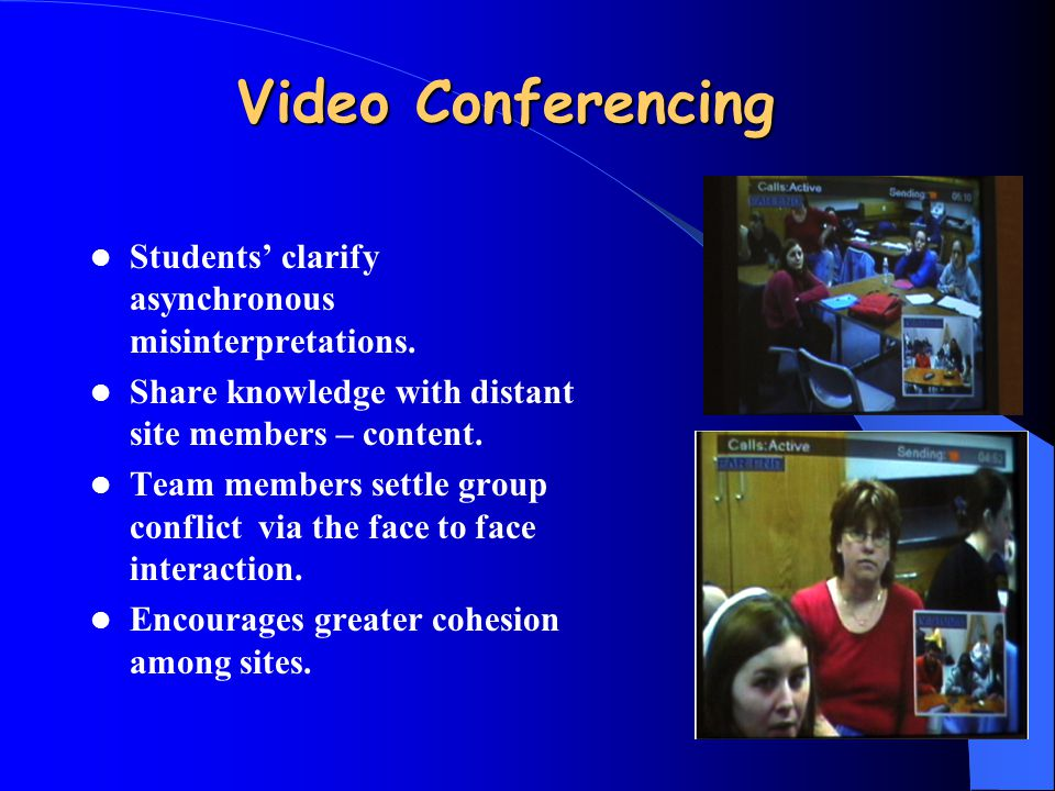 Video Conferencing Students' clarify asynchronous misinterpretations. Share knowledge with distant site members – content. Team members settle group c