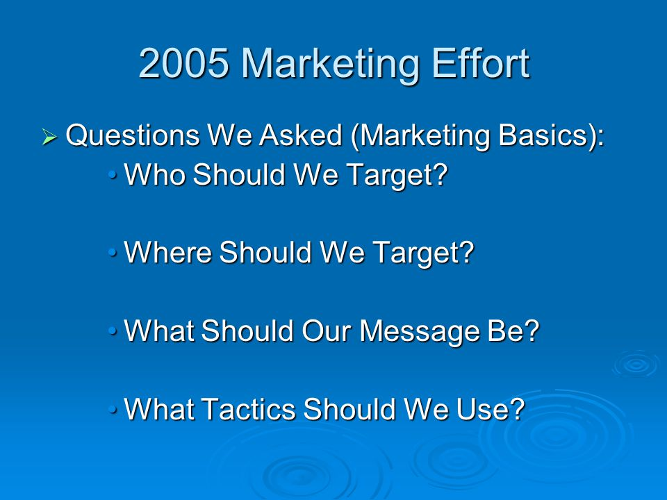 2005 Marketing Effort  Questions We Asked (Marketing Basics): Who Should We Target Who Should We Target.