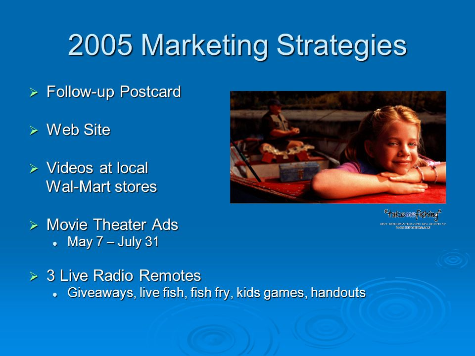 2005 Marketing Strategies  Follow-up Postcard  Web Site  Videos at local Wal-Mart stores Wal-Mart stores  Movie Theater Ads May 7 – July 31 May 7 – July 31  3 Live Radio Remotes Giveaways, live fish, fish fry, kids games, handouts Giveaways, live fish, fish fry, kids games, handouts