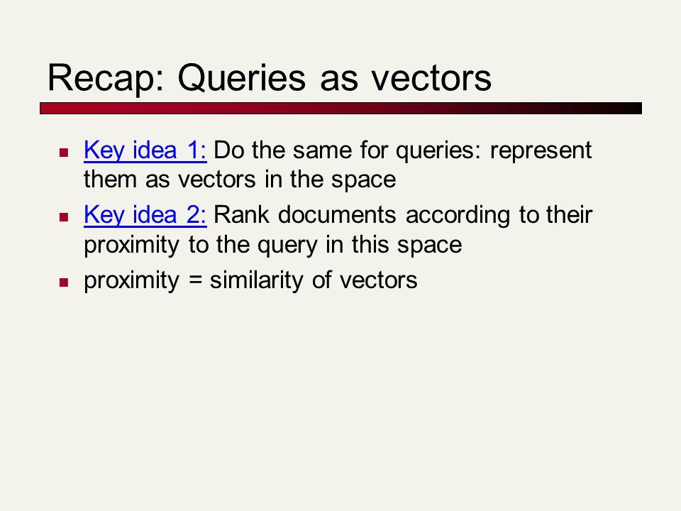 Recap: Queries as vectors Key idea 1: Do the same for queries: represent them as vectors in the space Key idea 2: Rank documents according to their proximity to the query in this space proximity = similarity of vectors