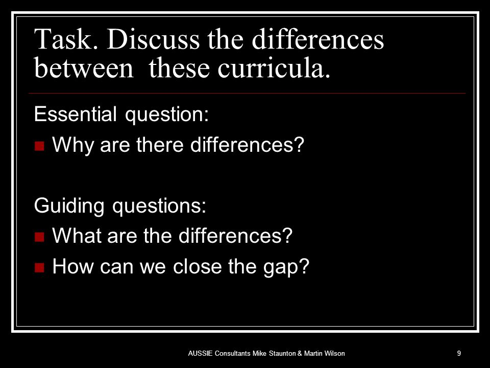 Task. Discuss the differences between these curricula.