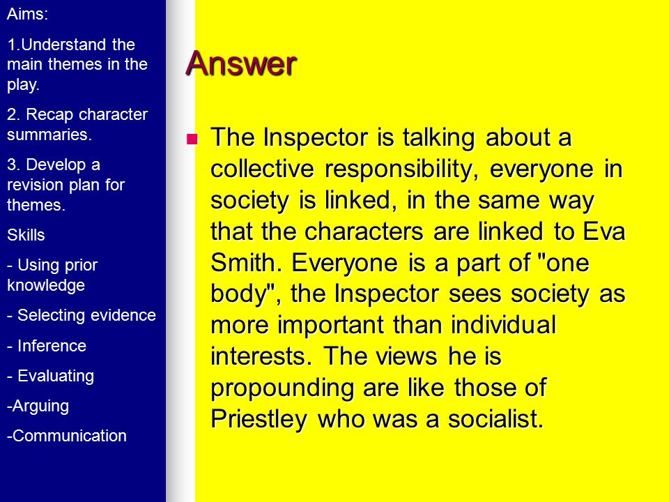Answer The Inspector is talking about a collective responsibility, everyone in society is linked, in the same way that the characters are linked to Ev
