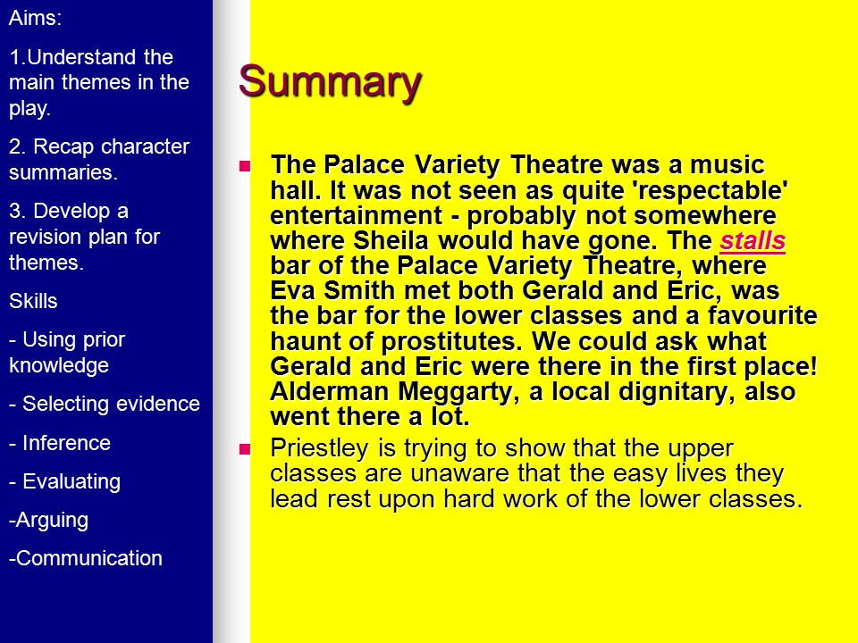 Summary The Palace Variety Theatre was a music hall. It was not seen as quite 'respectable' entertainment - probably not somewhere where Sheila would