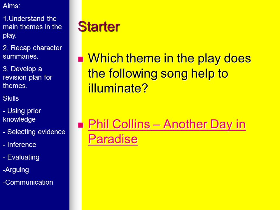 Starter Which theme in the play does the following song help to illuminate.
