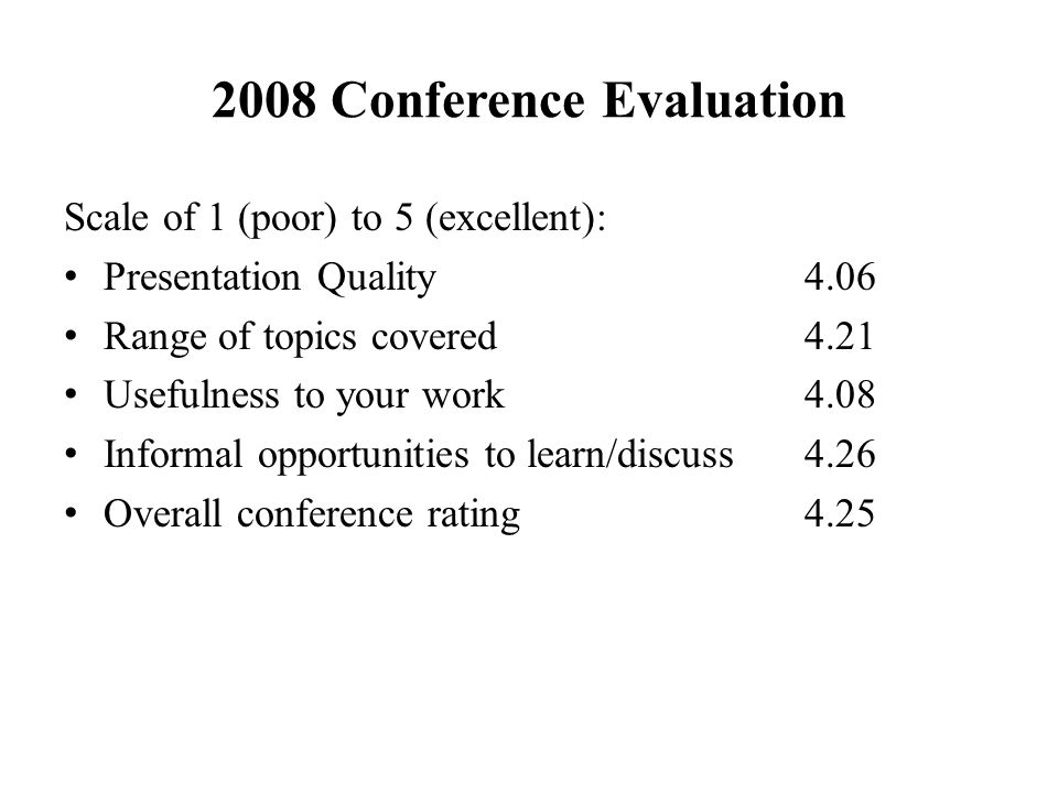 2008 Conference Evaluation Scale of 1 (poor) to 5 (excellent): Presentation Quality4.06 Range of topics covered4.21 Usefulness to your work4.08 Informal opportunities to learn/discuss4.26 Overall conference rating4.25