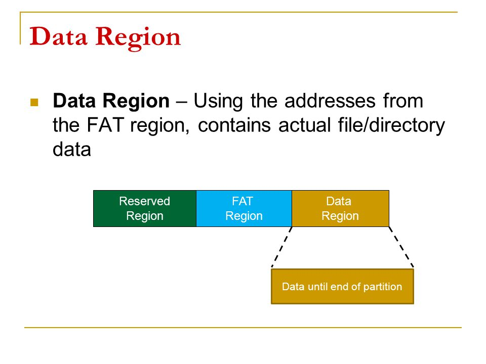 Data Region Data Region – Using the addresses from the FAT region, contains actual file/directory data Reserved Region FAT Region Data Region Data unt