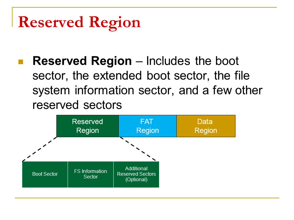 Reserved Region Reserved Region – Includes the boot sector, the extended boot sector, the file system information sector, and a few other reserved sec