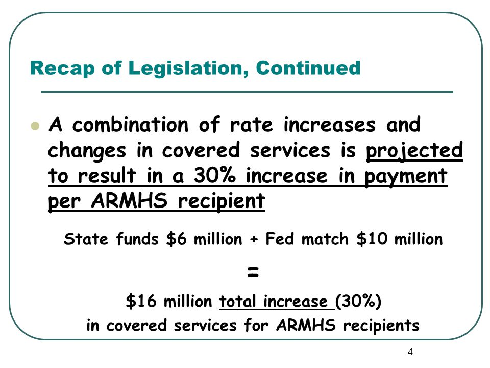Recap of Legislation, Continued 2013 Legislation Effective January 1, 2015 Rate increase will be in addition to the provision that increases MA rates 5% for ARMHS and most other MA-covered mental health services effective September 1, 2014.