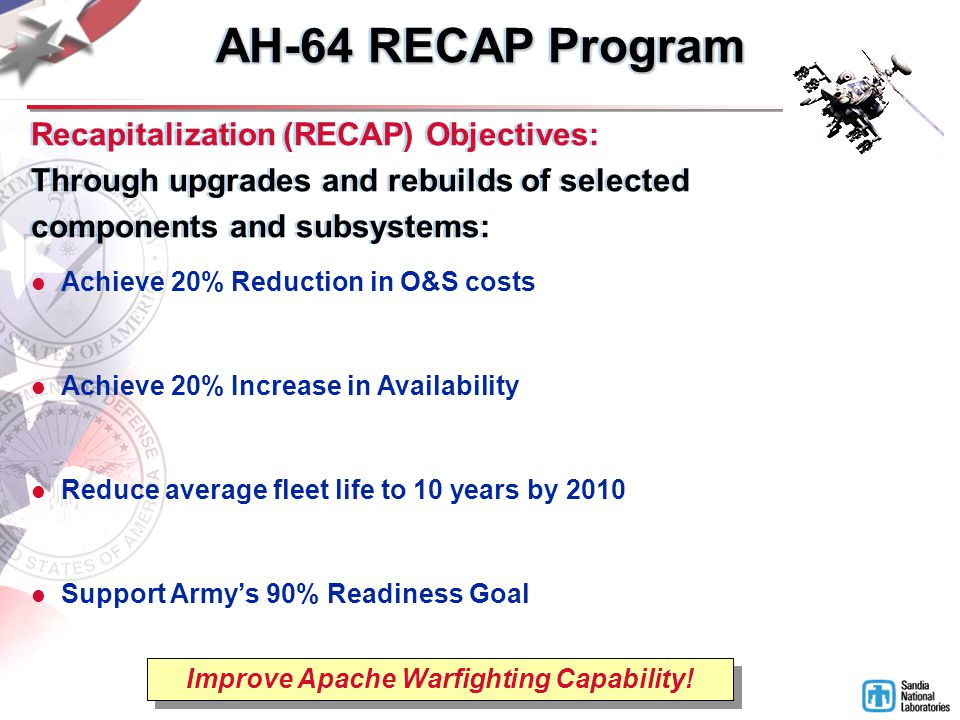 Achieve 20% Reduction in O&S costs Achieve 20% Increase in Availability Reduce average fleet life to 10 years by 2010 Support Army's 90% Readiness Goal Improve Apache Warfighting Capability.