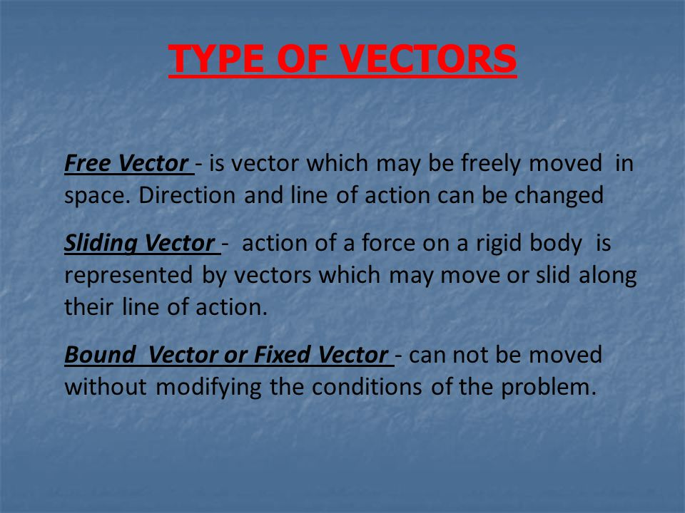 TYPE OF VECTORS Free Vector - is vector which may be freely moved in space. Direction and line of action can be changed Sliding Vector - action of a f