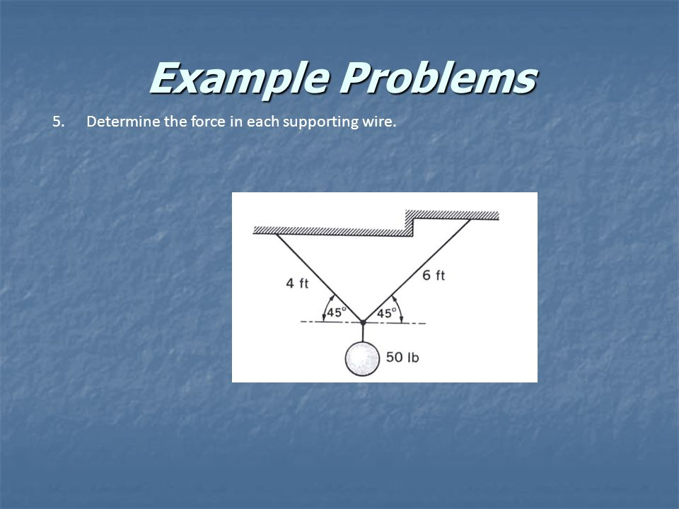 Example Problems 5.Determine the force in each supporting wire.