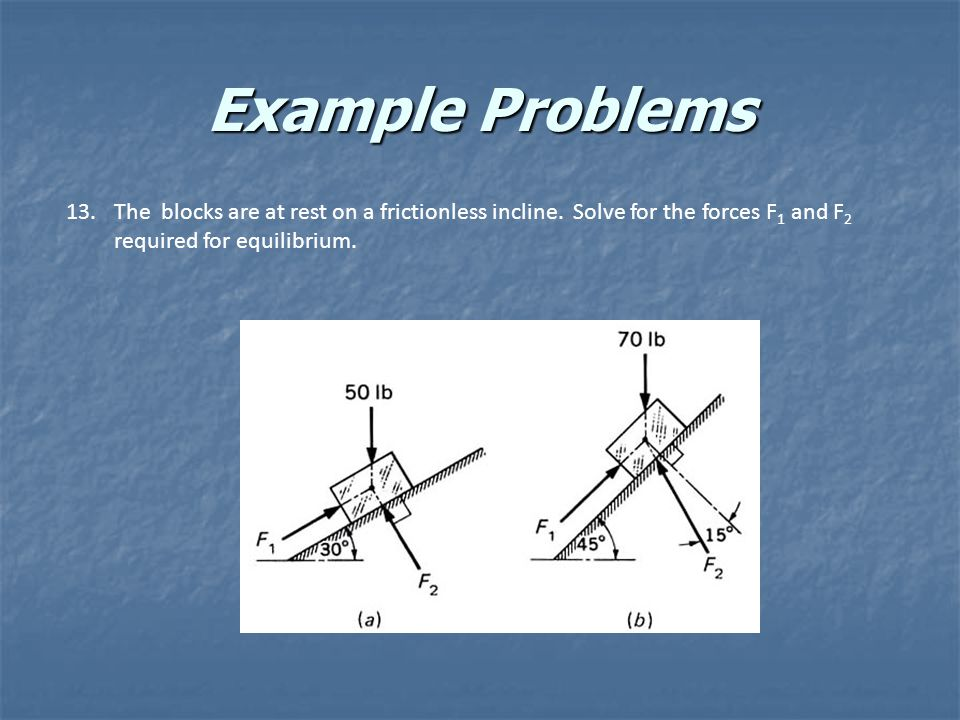 Example Problems 13.The blocks are at rest on a frictionless incline. Solve for the forces F 1 and F 2 required for equilibrium.