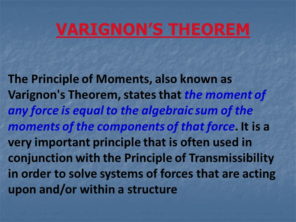 The Principle of Moments, also known as Varignon's Theorem, states that the moment of any force is equal to the algebraic sum of the moments of the co