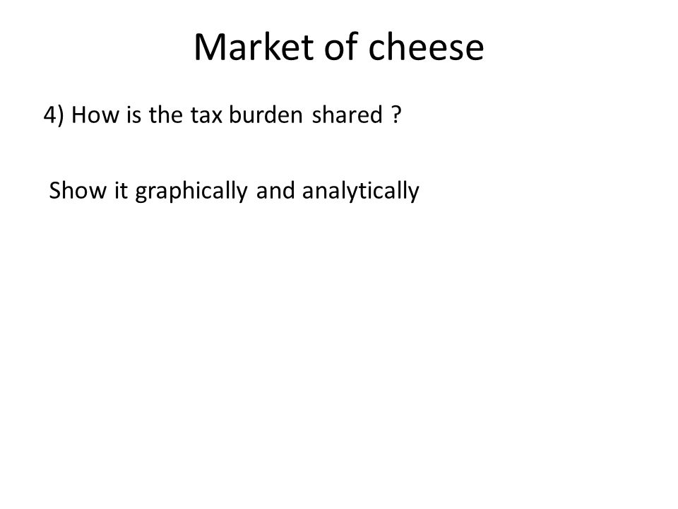 Market of cheese 4) How is the tax burden shared ? Show it graphically and analytically