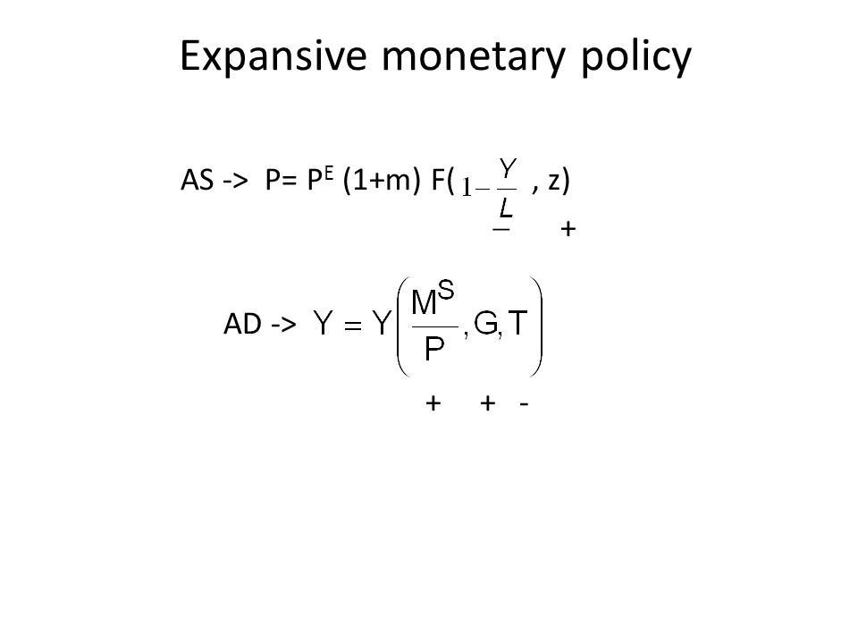 AS -> P= P E (1+m) F(, z)  + AD -> + + - Expansive monetary policy