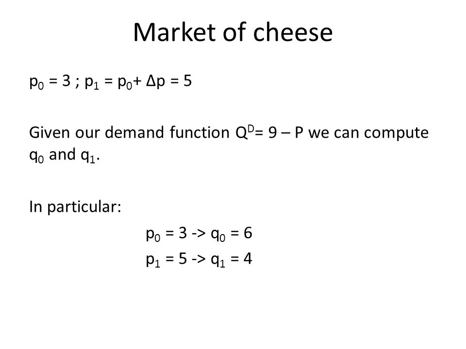 Market of cheese p 0 = 3 ; p 1 = p 0 + Δp = 5 Given our demand function Q D = 9 – P we can compute q 0 and q 1.